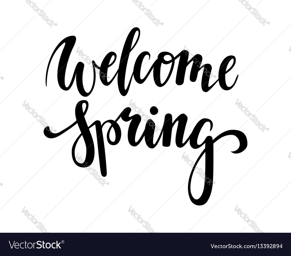 Welcome spring hand drawn calligraphy and brush
