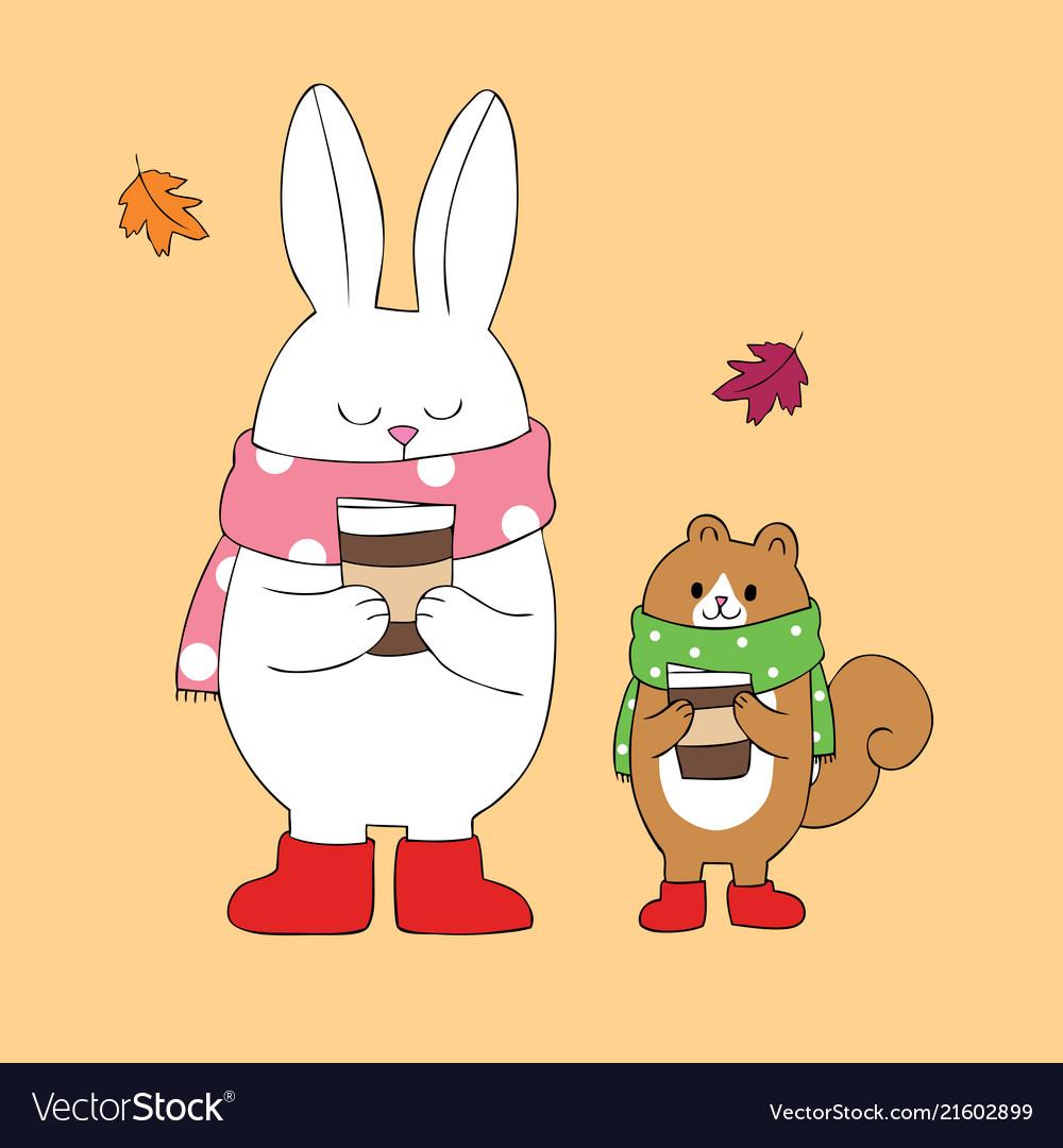 Cartoon Cute Autumn Rabbit And Squirrel Royalty Free Vector