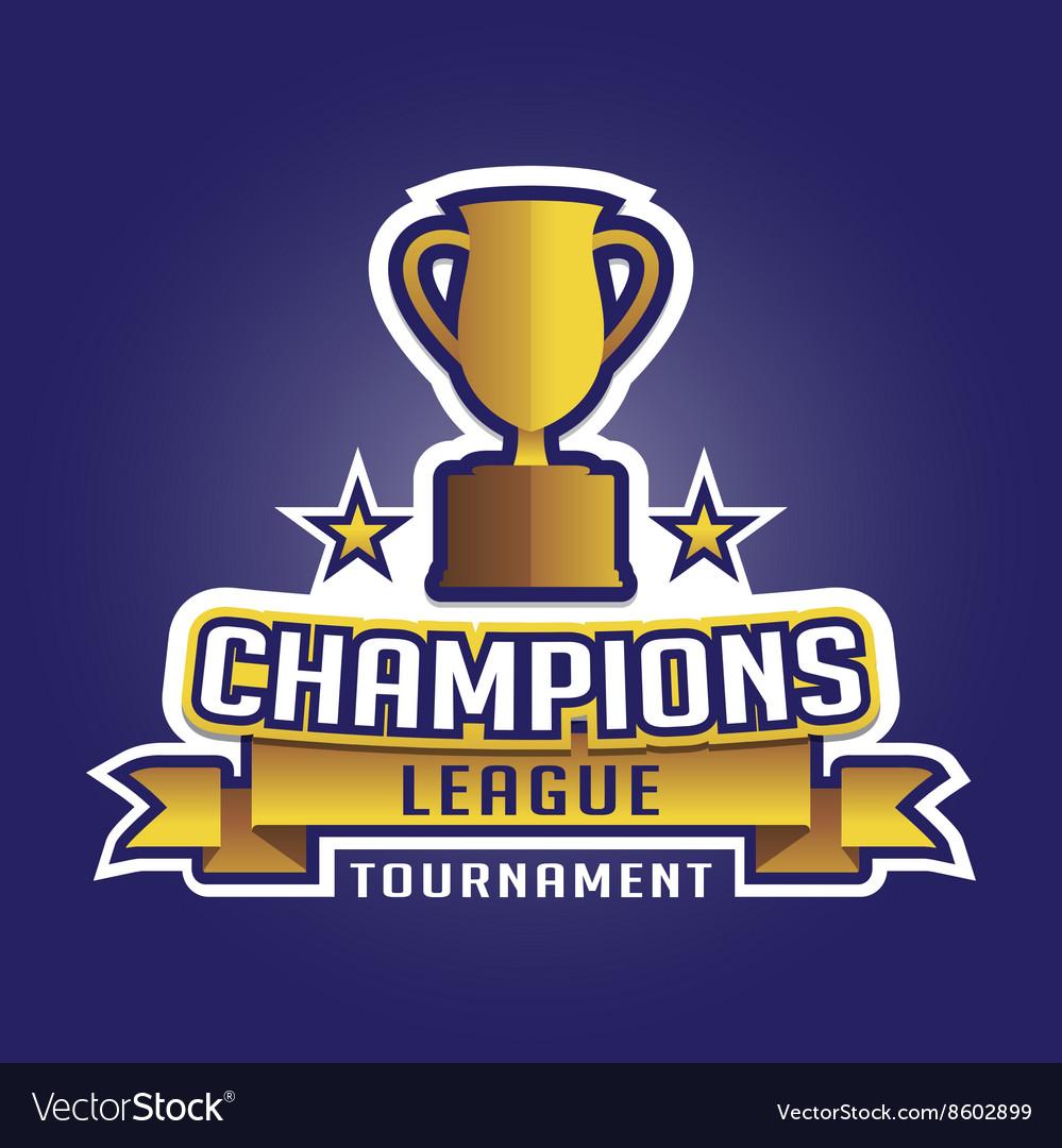 Champions League Vector: Champion Sports League Logo Emblem Badge Graphic Vector Image