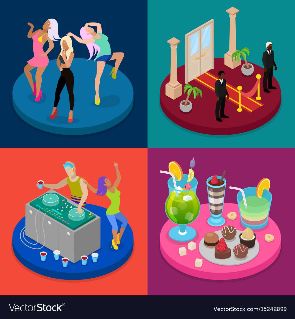 Isometric party concept night club disco dj