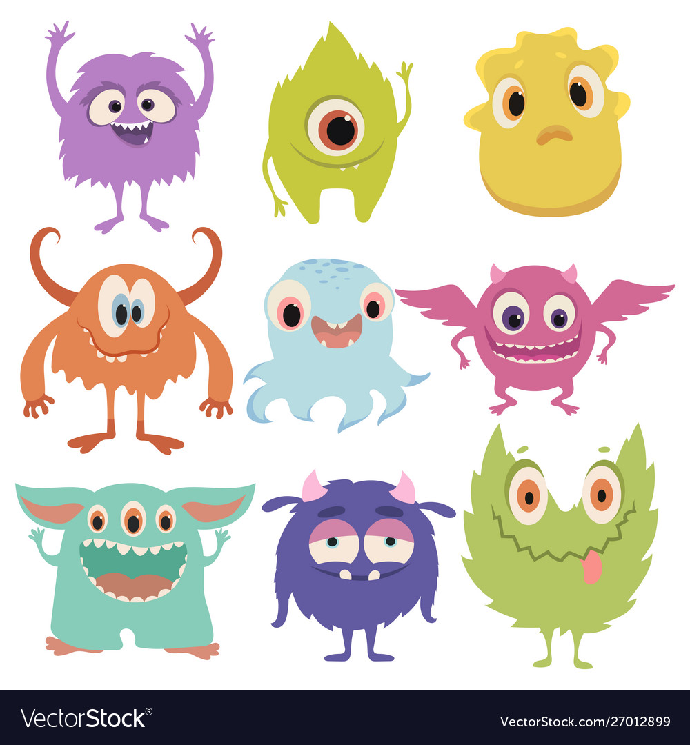 Set cartoon monsters collection happy