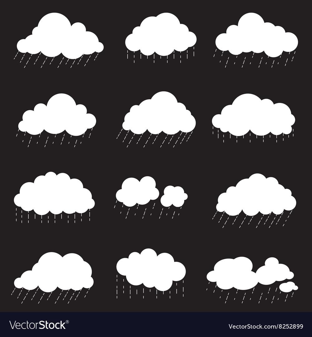 Set cloud with rain smoke element decor isolated