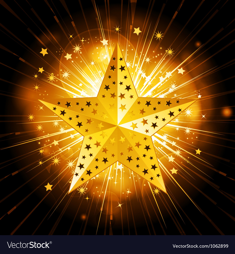 Sparkling gold christmas star vector image