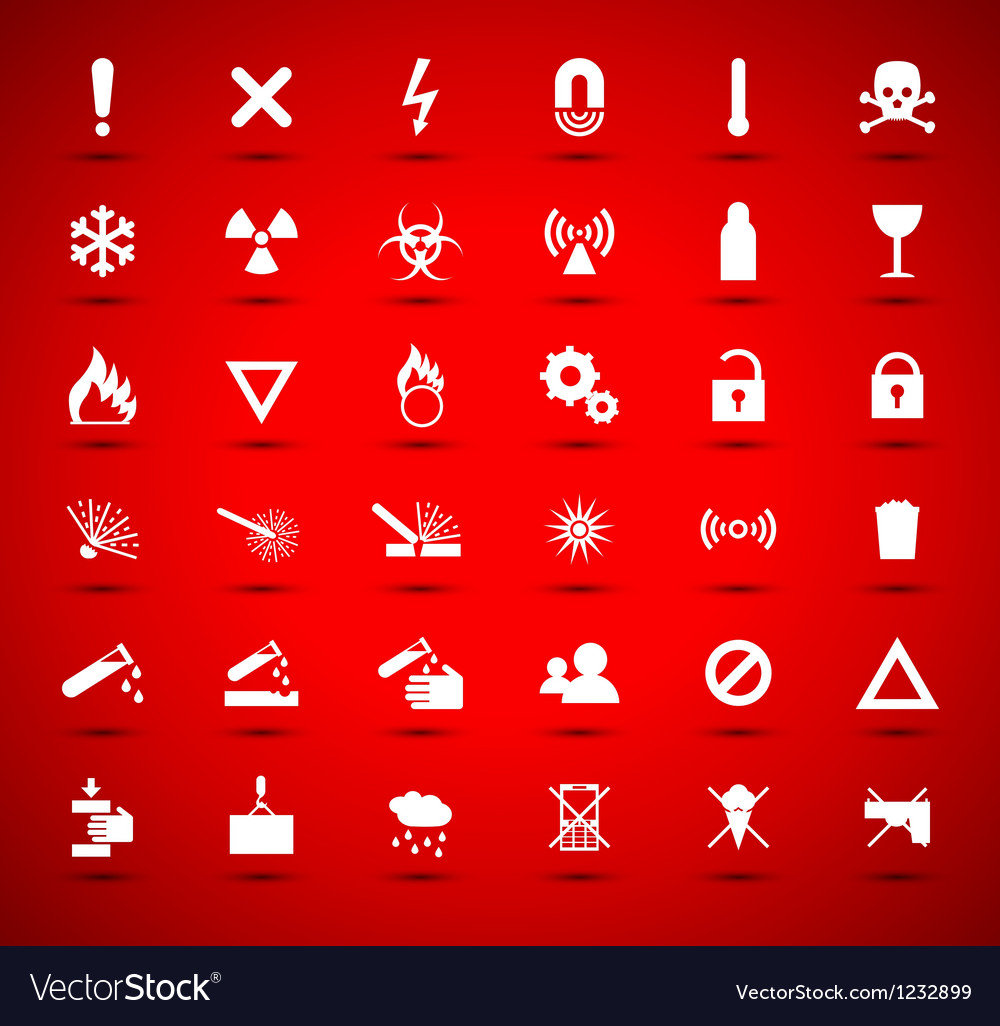 White warning and danger signs vector image