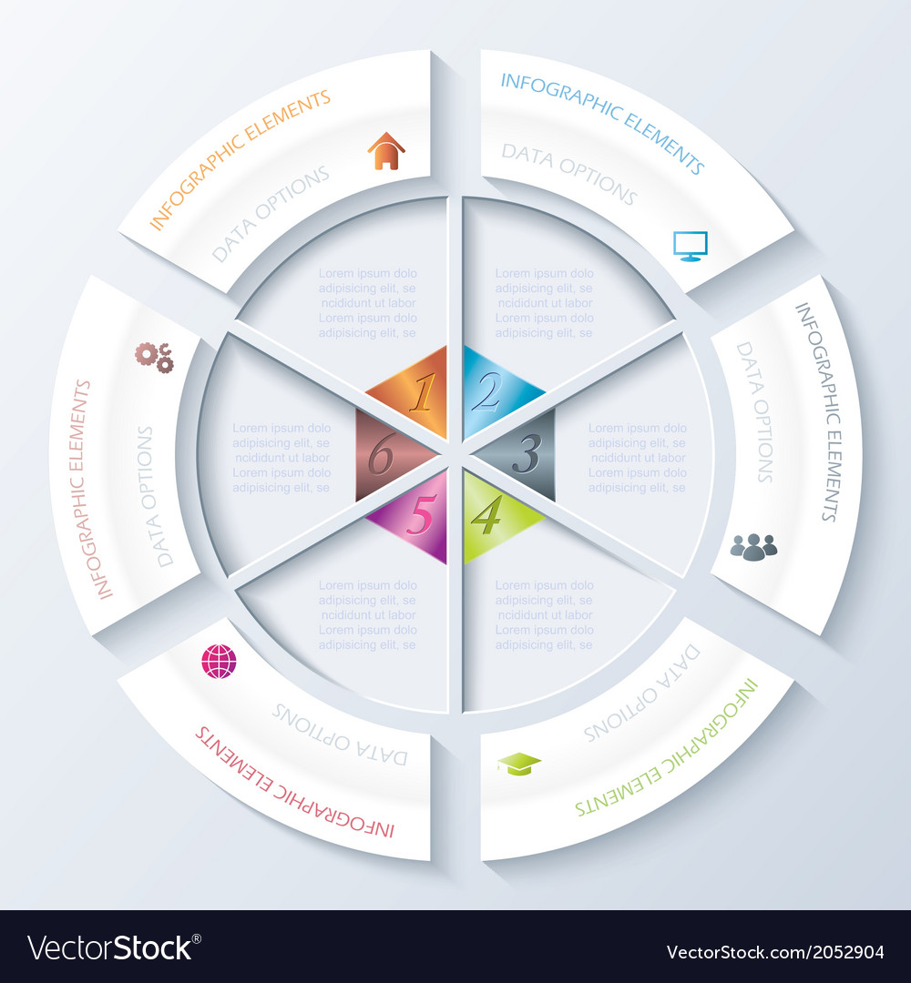 Abstract infographic design with circle and six se