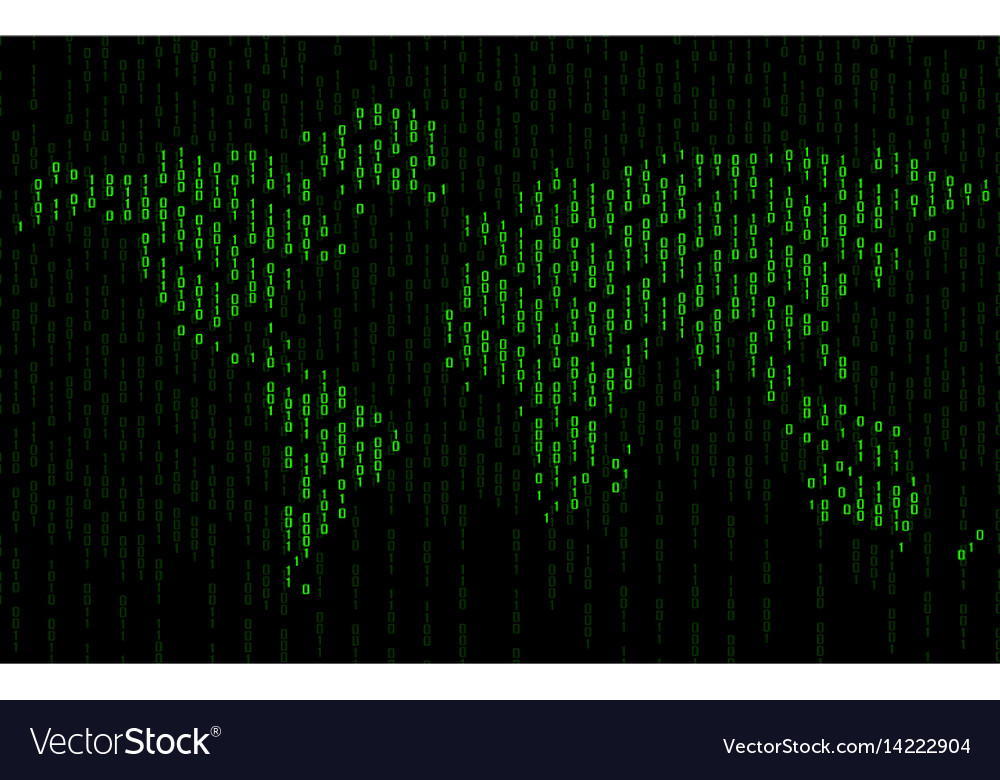 Abstract world map of binary computer code vector image gumiabroncs Image collections