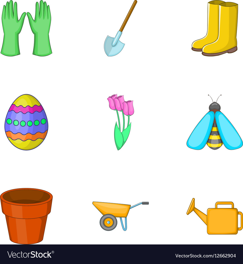 Agricultural elements icons set cartoon style vector image