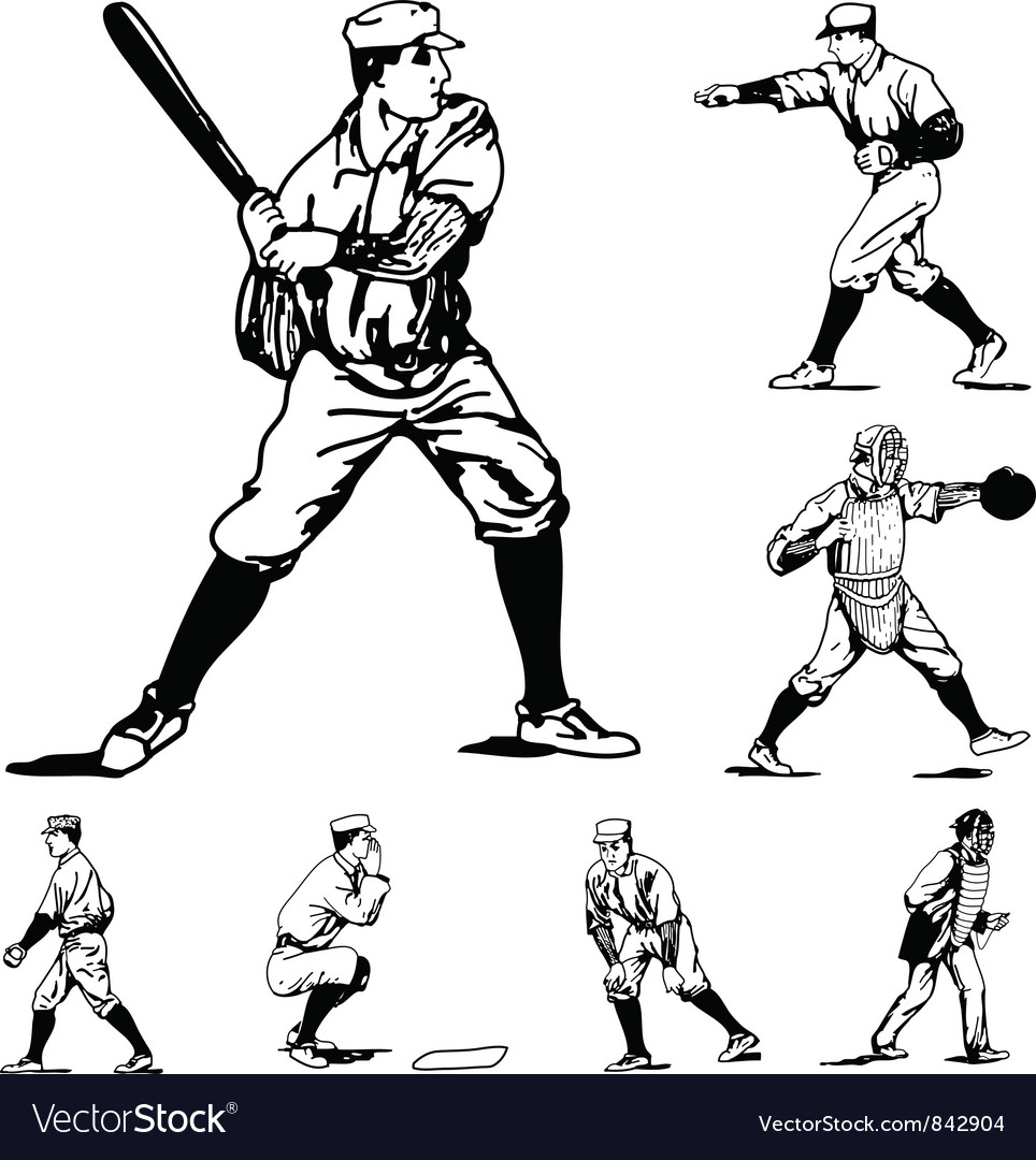 baseball players royalty free vector image vectorstock rh vectorstock com baseball player vector free girl baseball player vector