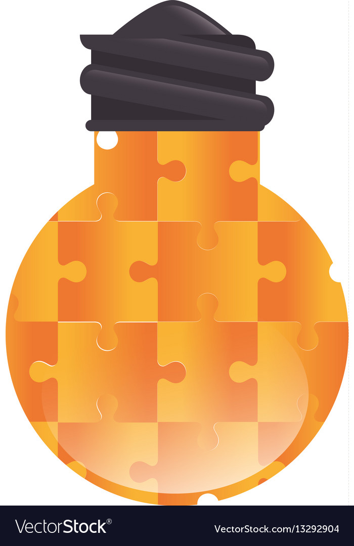 Bulb light with puzzle pieces education icon