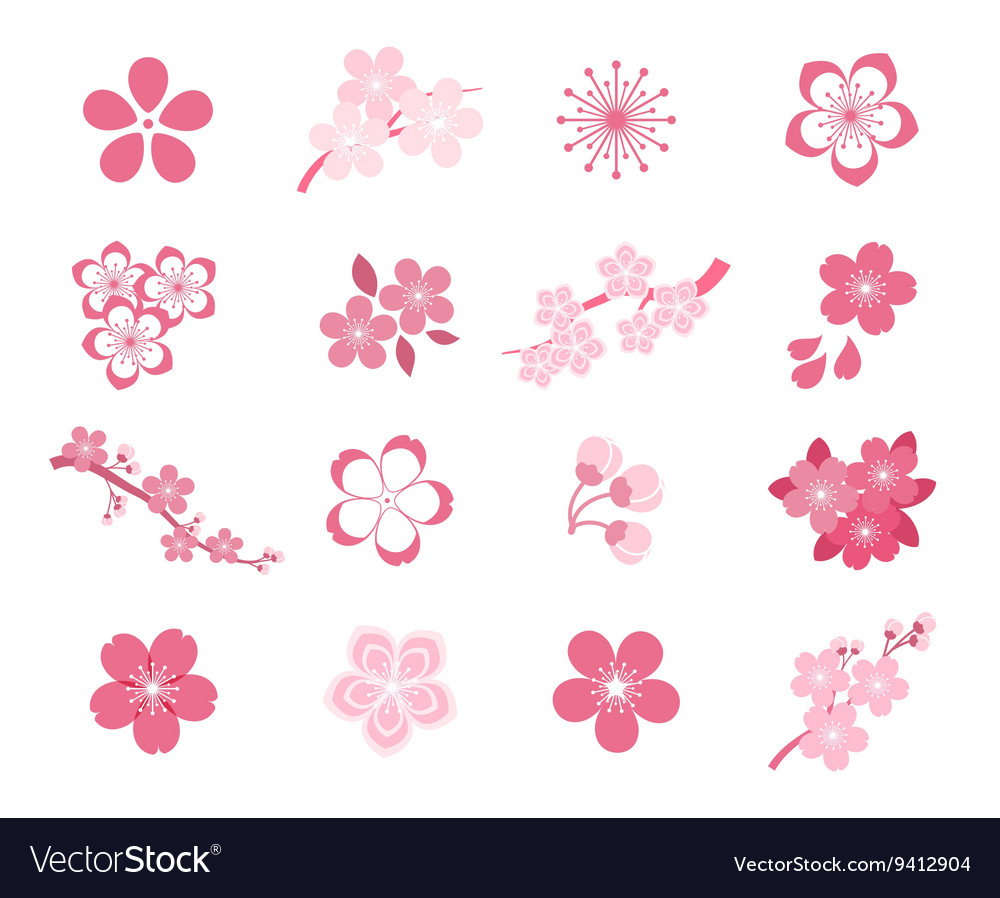 Cherry blossom japanese sakura icon set