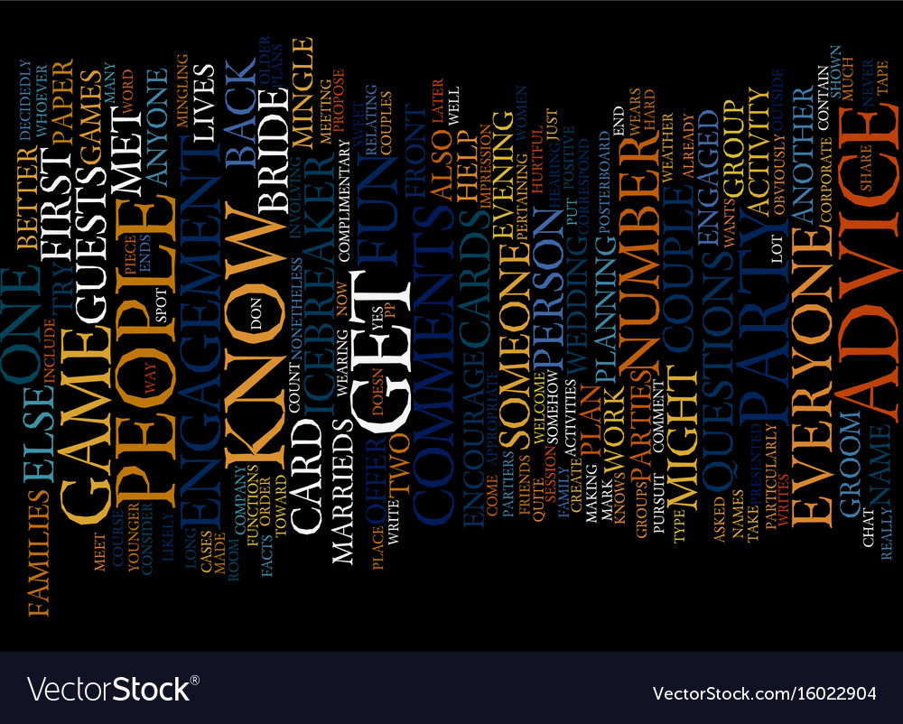 Engagement party games text background word cloud vector image