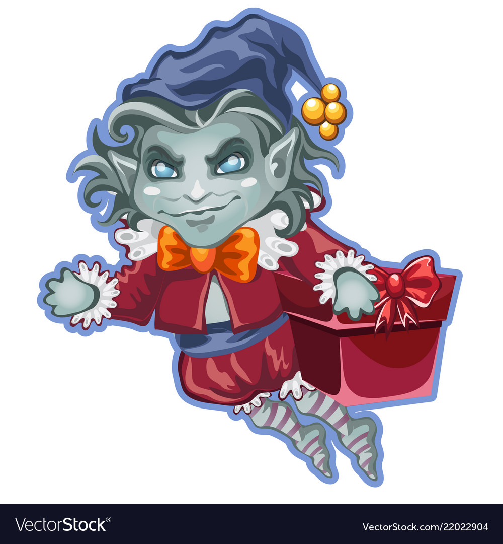 Flying demon with a festive box packed with gifts