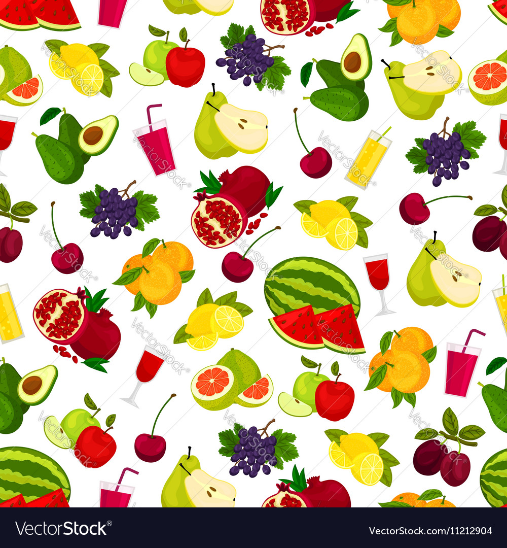 Fresh ripe fruits and juicy drinks pattern