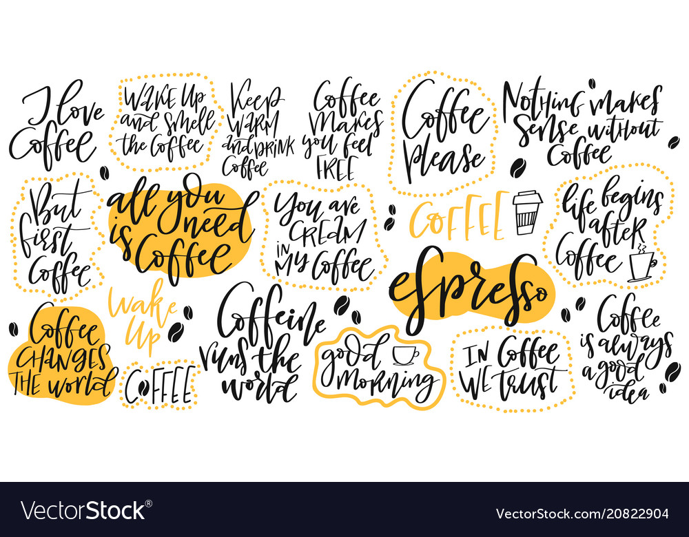 Handdrawn lettering set about coffee