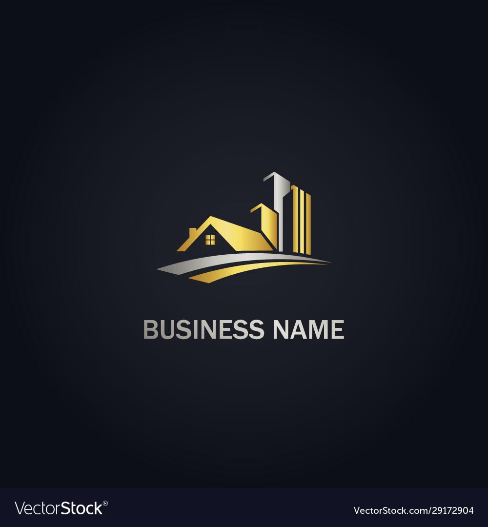 House building company design gold logo