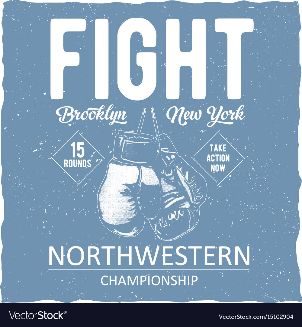 Label design with of boxing gloves vector image