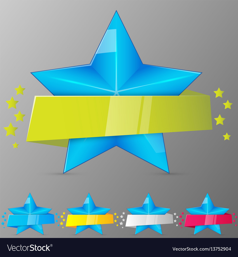 Set of blue stars with ribbons collection for