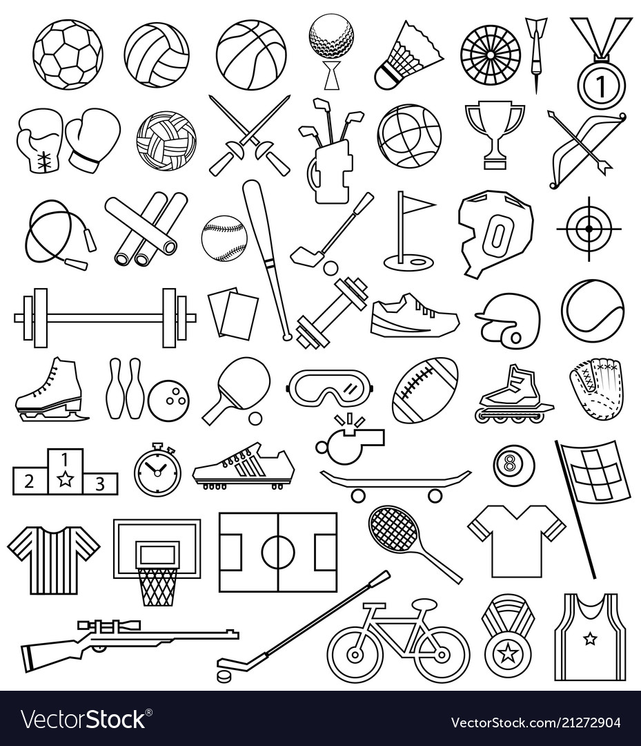 Sport equipment outline icon set