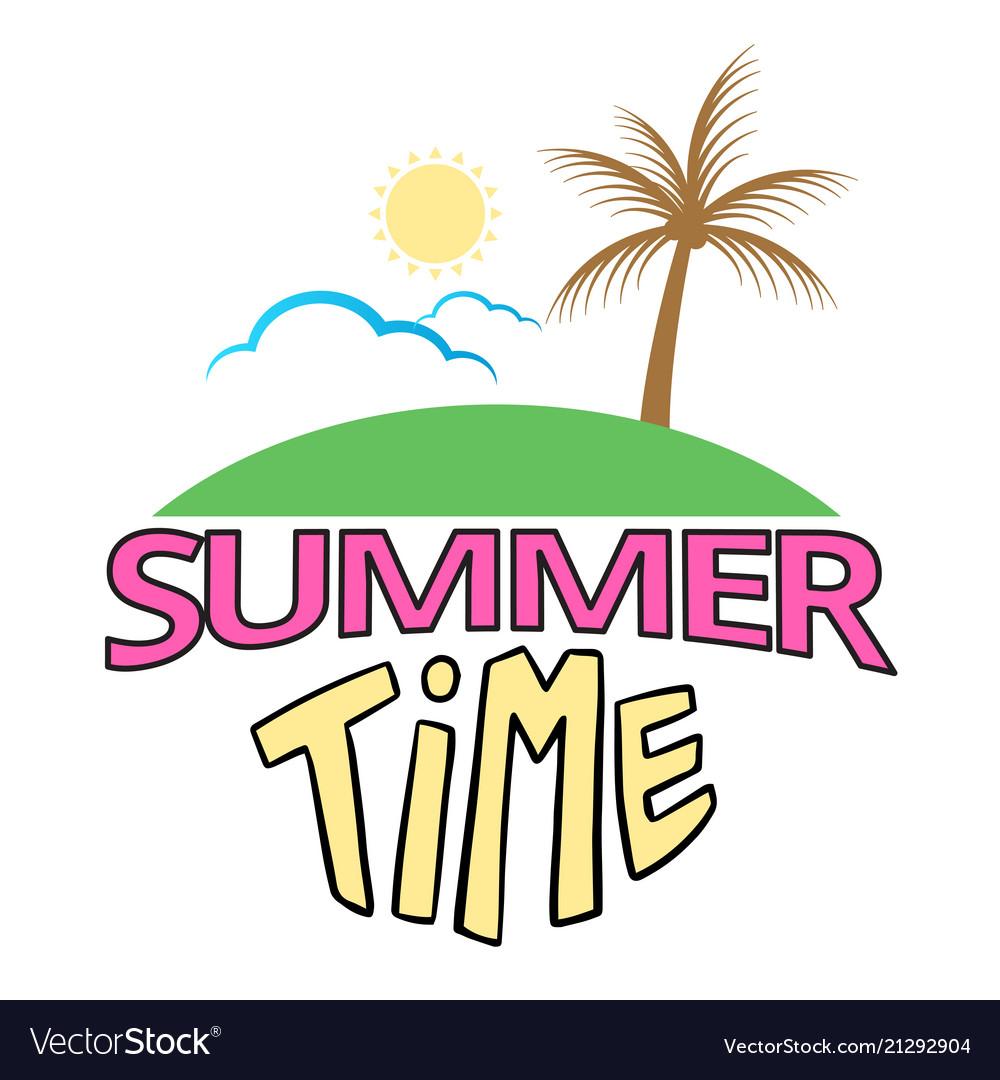 Summer time island coconut sun cloud background ve