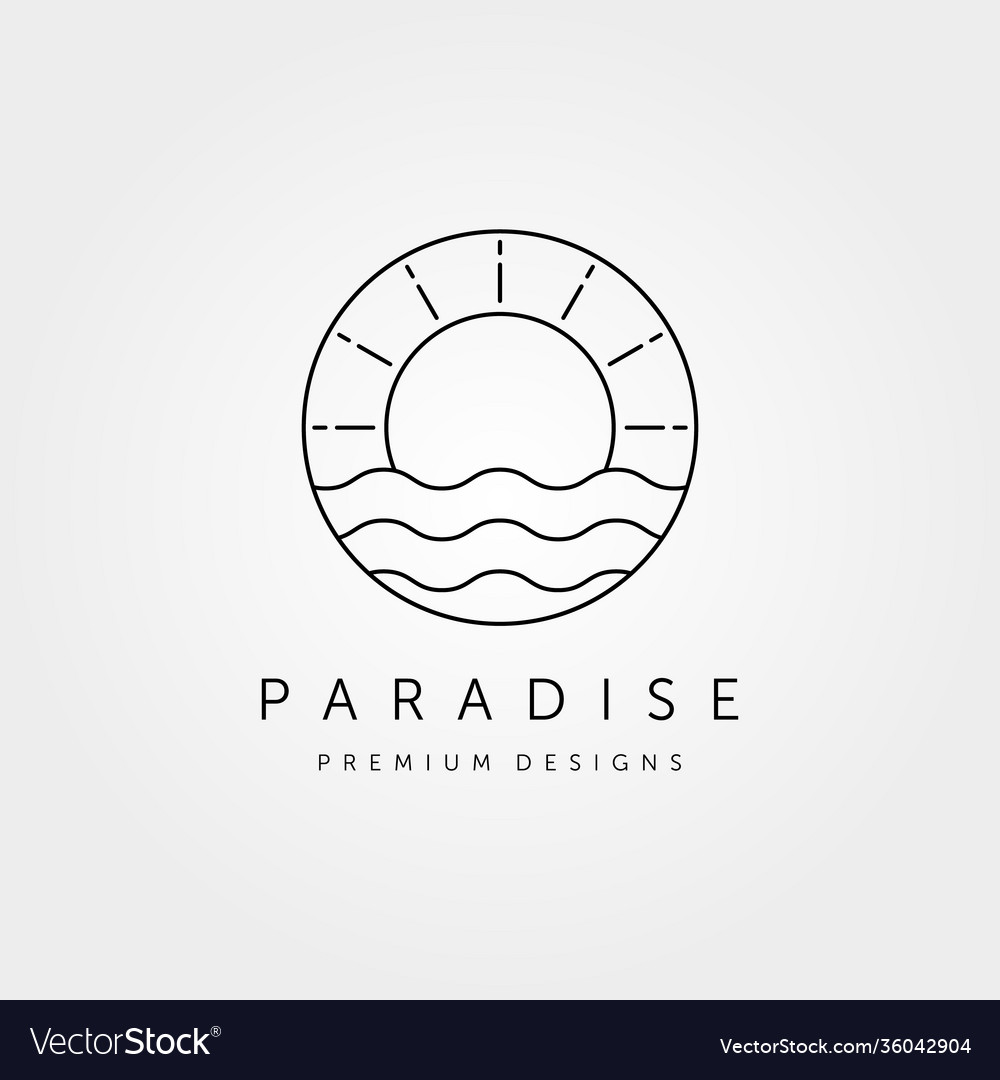 Sunset wave logo symbol design