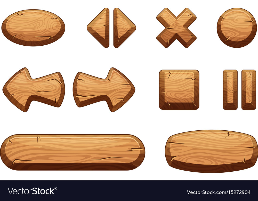 Wooden buttons set for game ui cartoon
