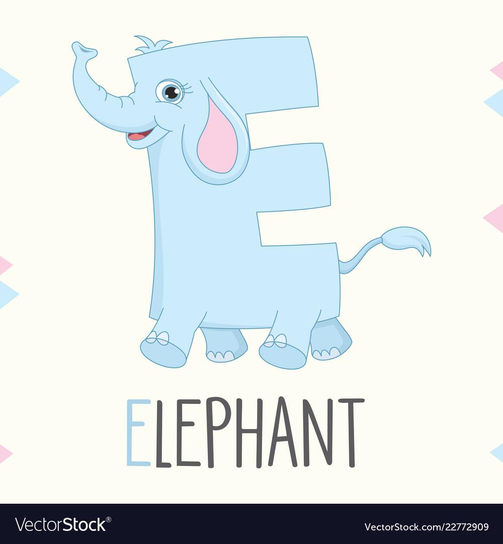Alphabet letter e and elephant