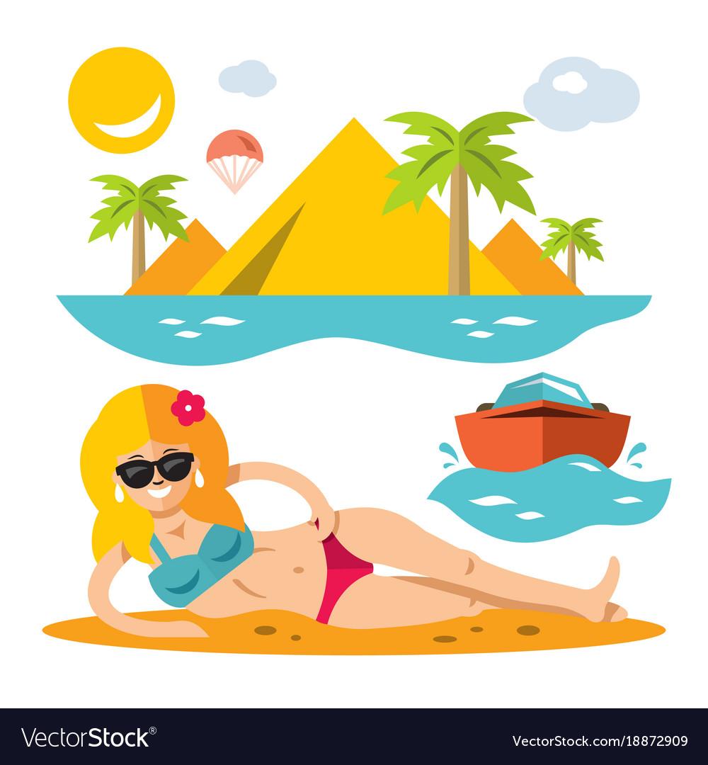 Beach girl flat style colorful cartoon