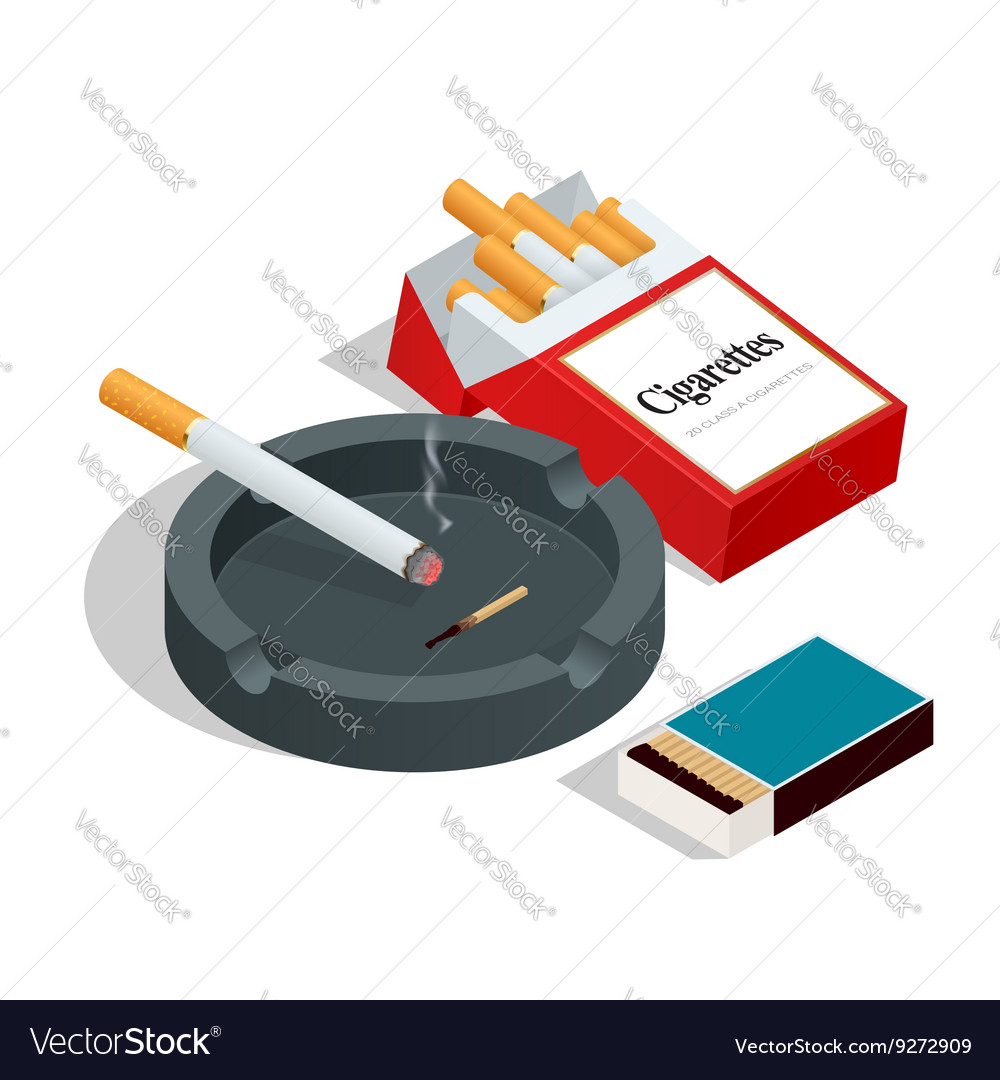 Box of matches cigarettes pack cigarette on