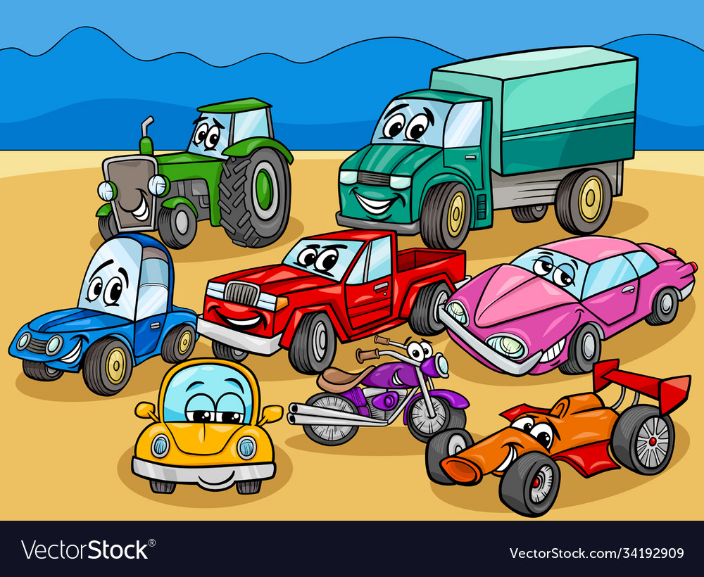 Car and vehicles cartoon characters group