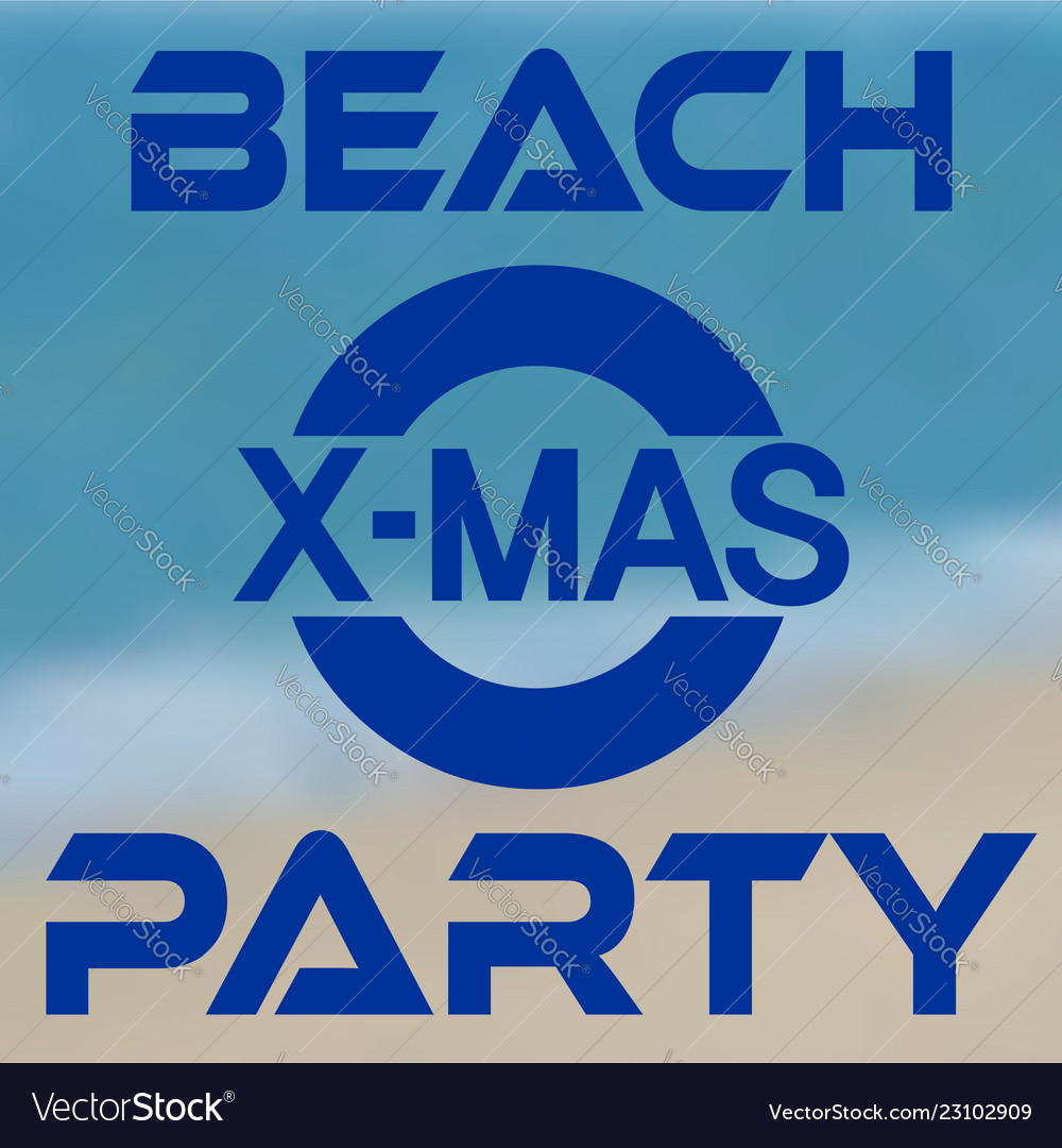 Christmas party at the beach banner with seashore