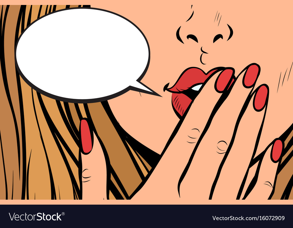 Comic bubble closeup of female hand closed mouth