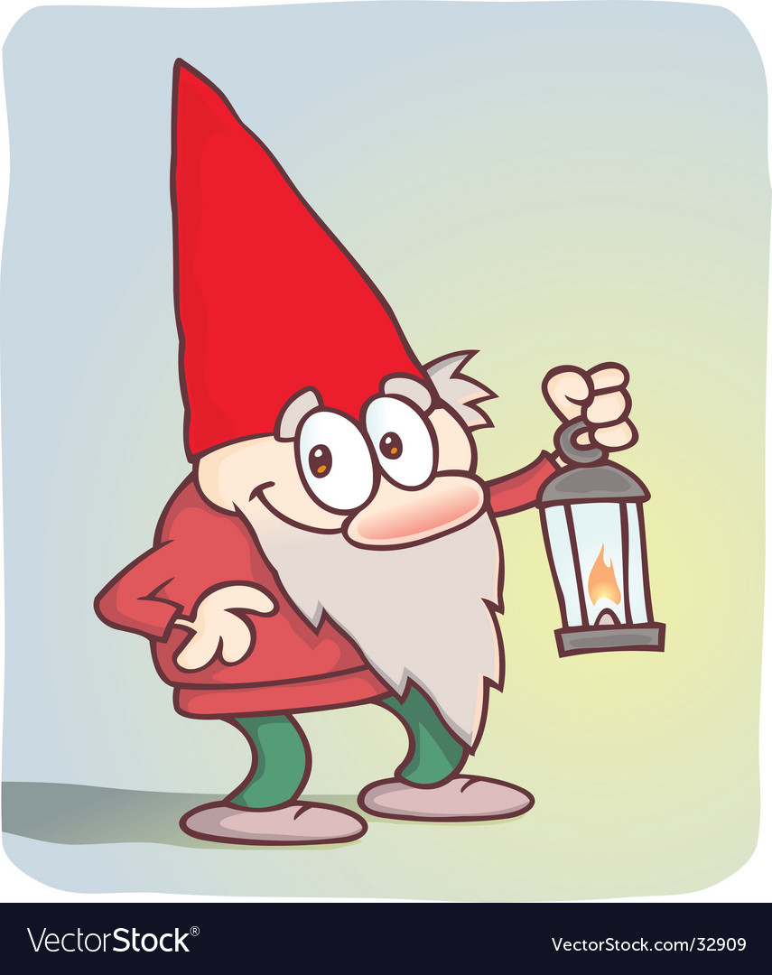 Cute little gnome with lantern