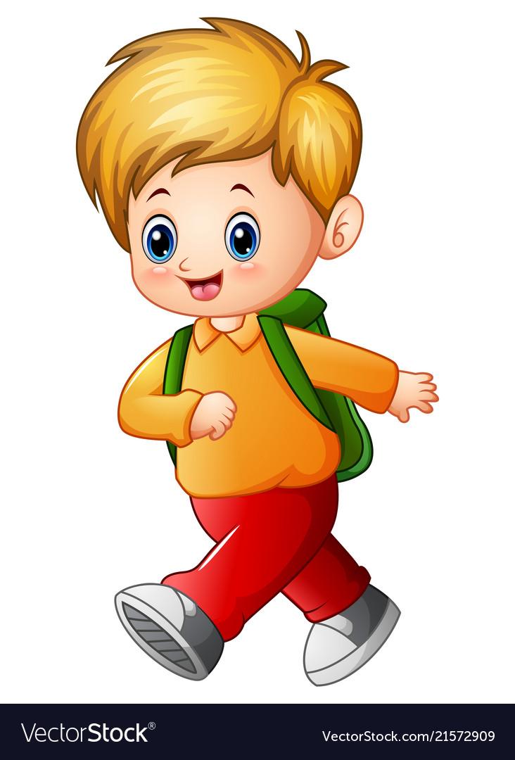 Cute schoolboy cartoon Royalty Free Vector Image