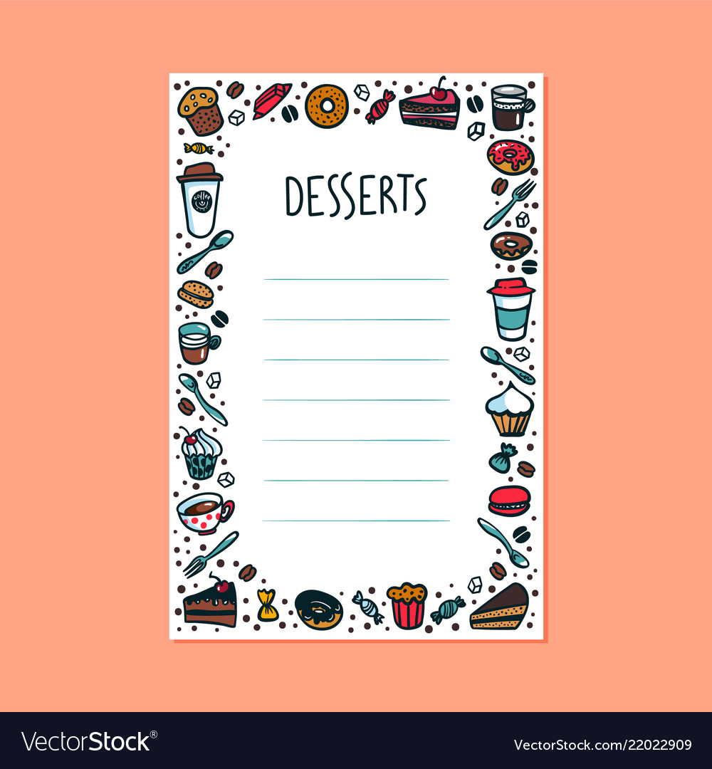 Desserts menu template colorful doodle style