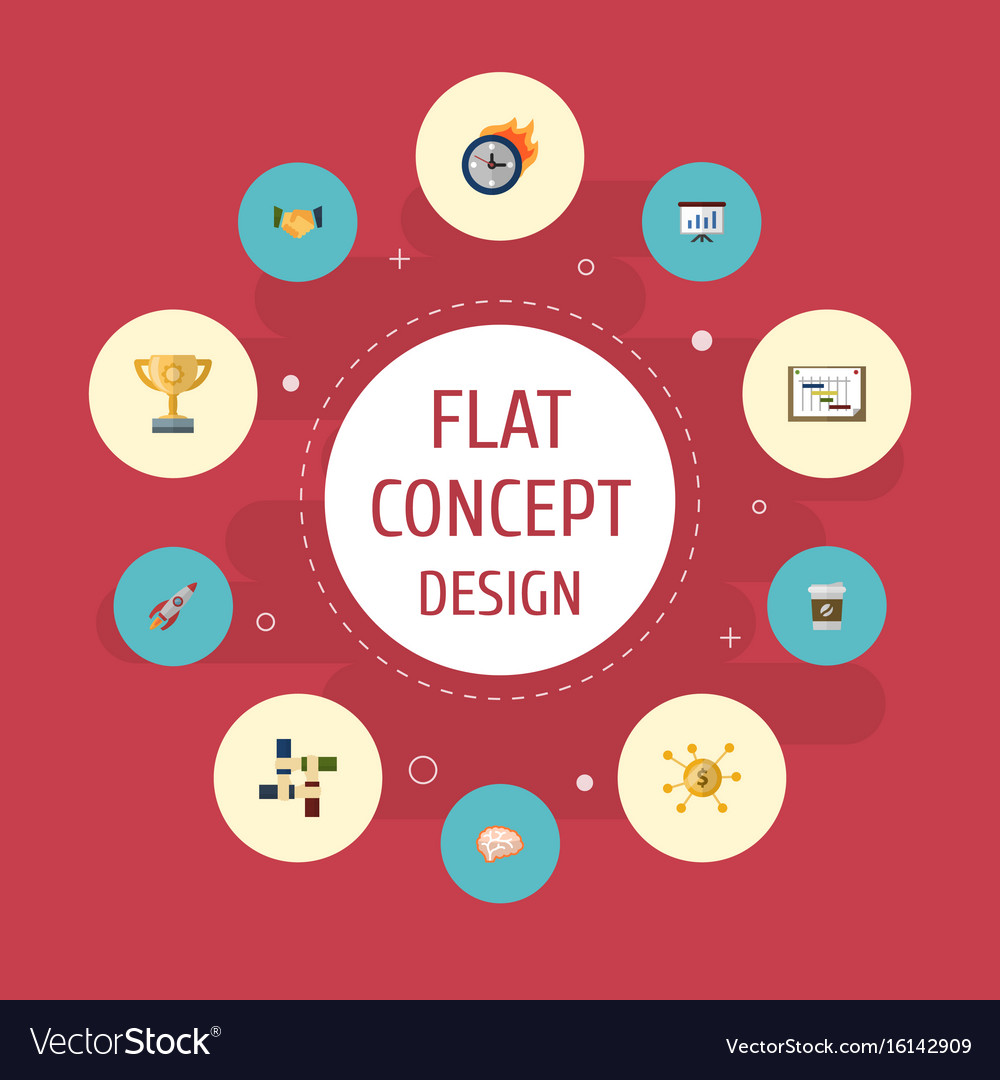Flat Icons Schedule Agreement Financing And Vector Image