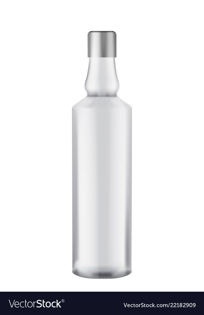 Glass votka bottle - mock up template isolated on