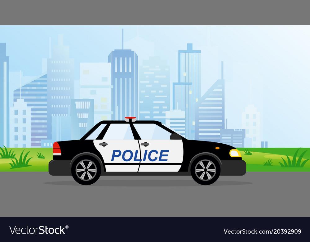 Police patrol car on modern