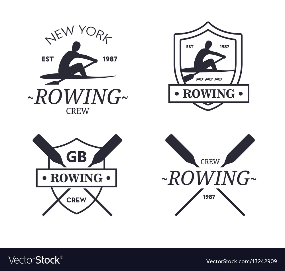 Rowing team logo emblem of rowing crew