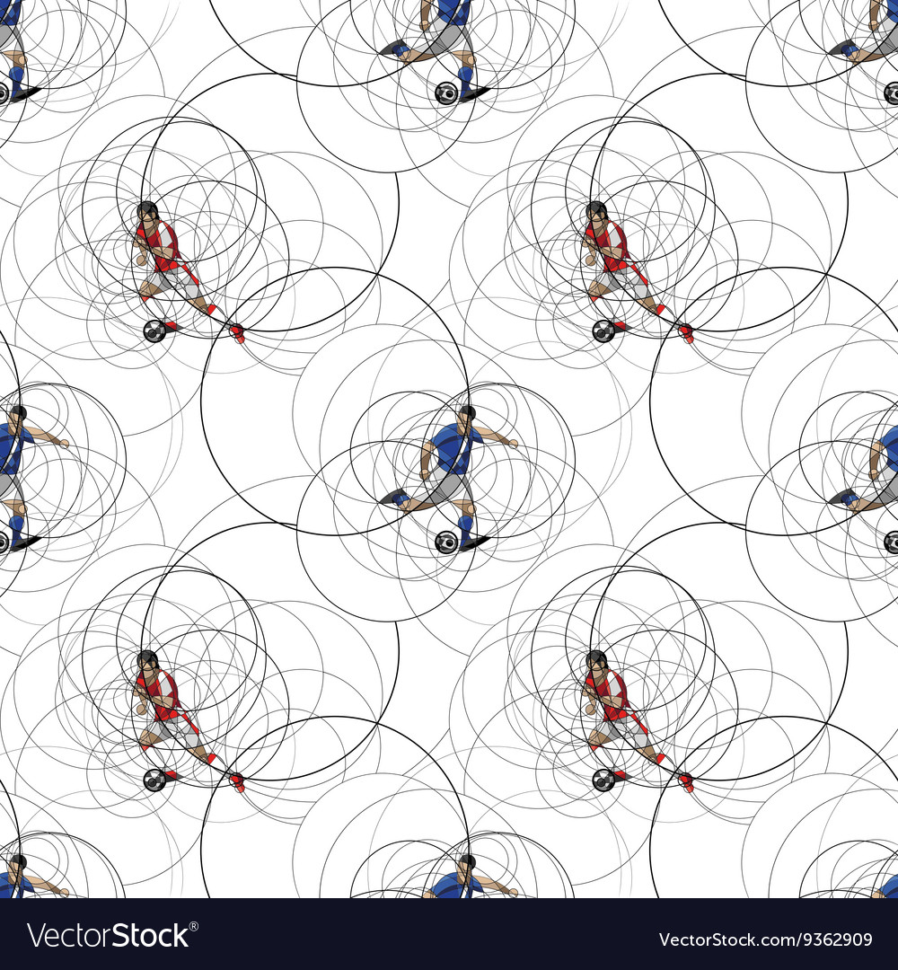 Seamless pattern with soccer players