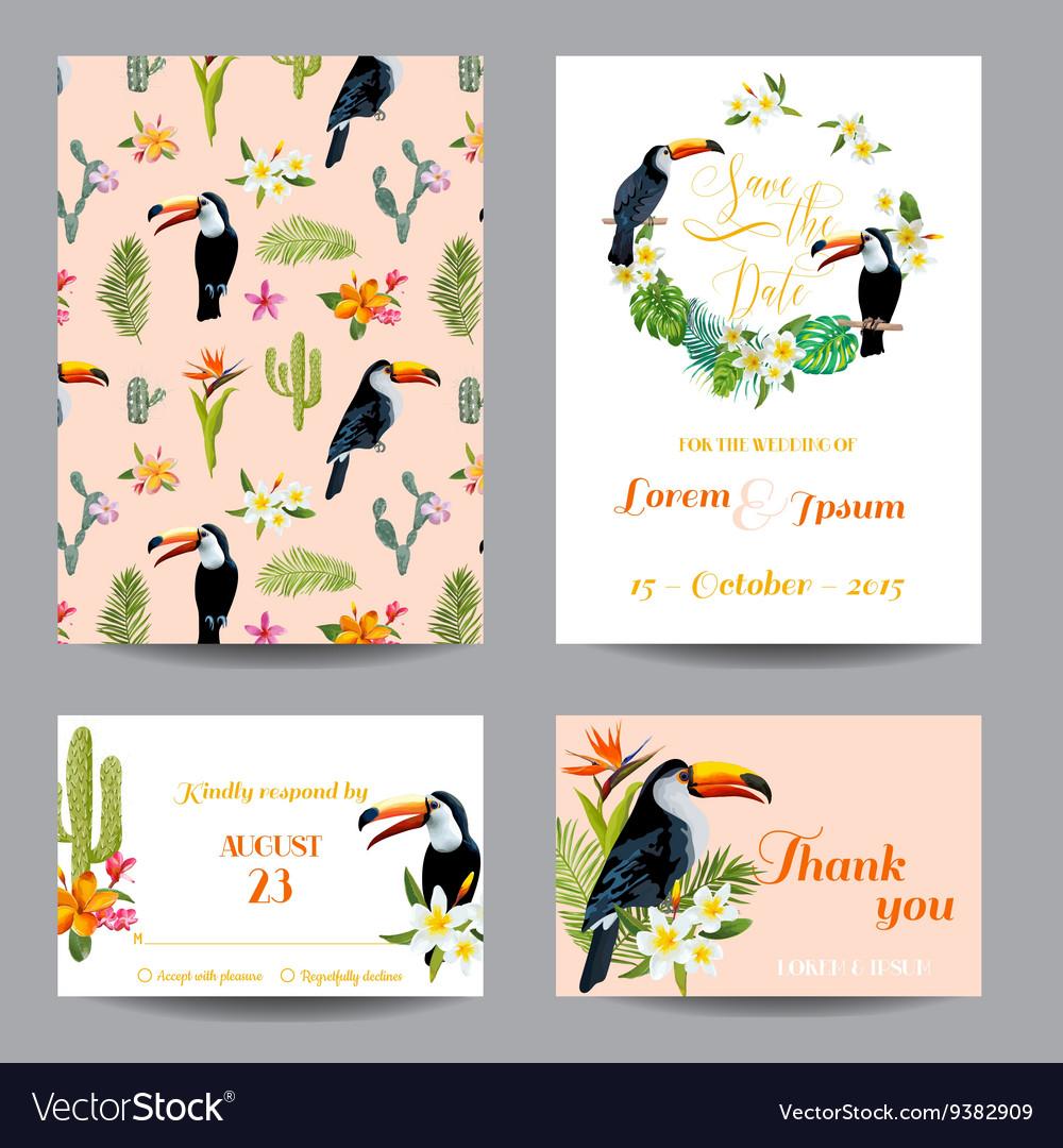 Wedding Card Tropical Flowers Toucan Bird