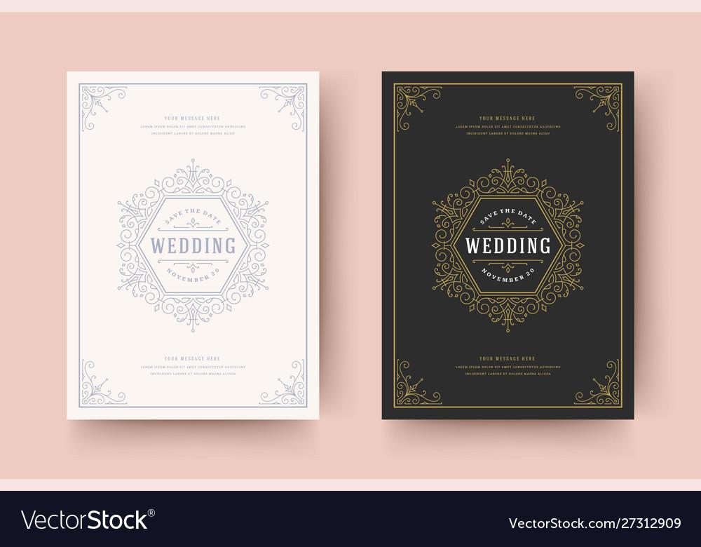 Wedding invitation save date card flourishes