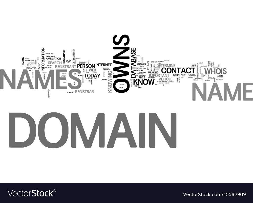 Who owns domain names text word cloud concept