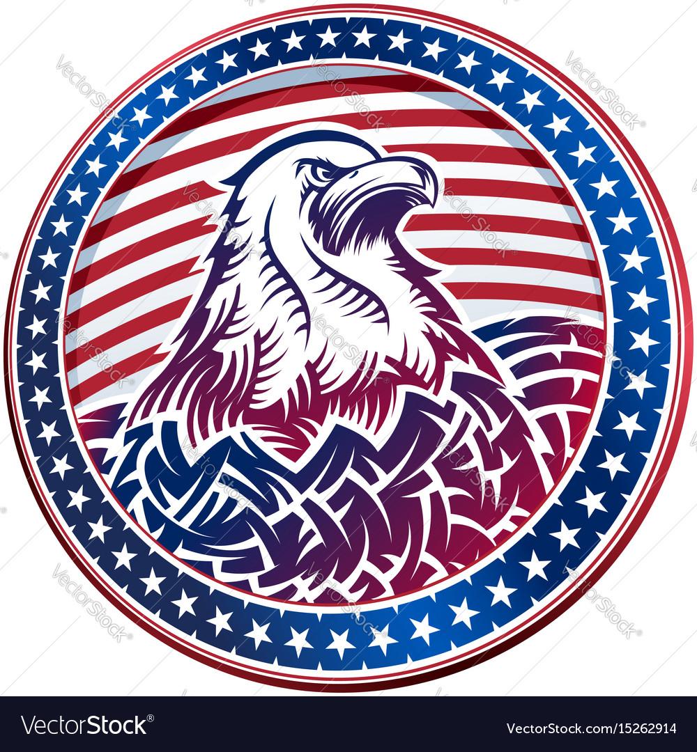 American Bald Eagle Usa Natioal Symbol Fourth Vector Image