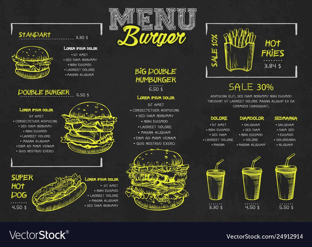 Burger menu poster design on chalkboard