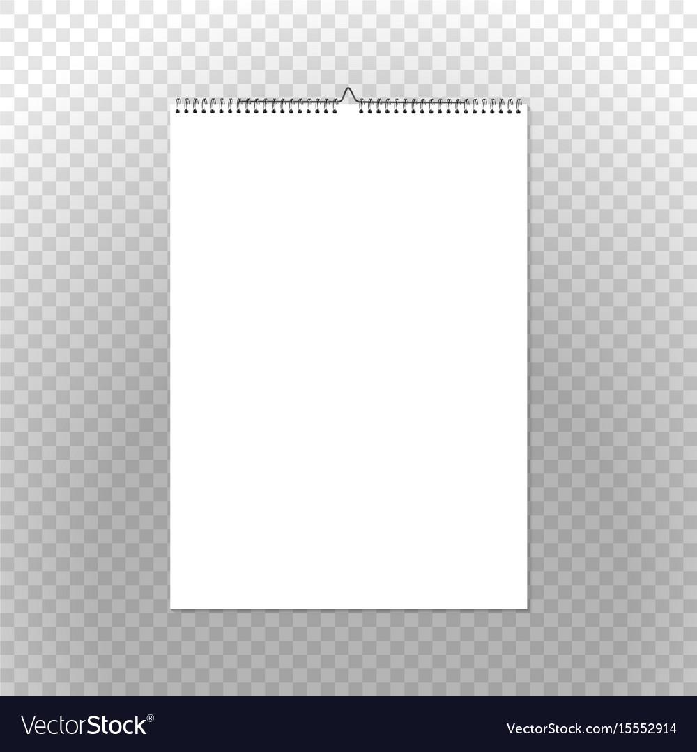 calendar binder mockup vertical on transparent vector image