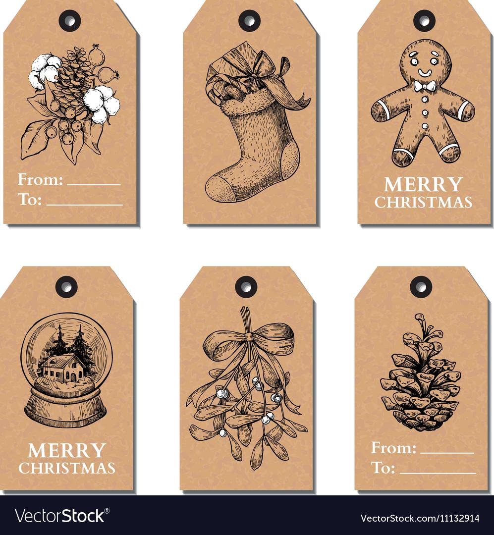 Christmas vintage gift tags set hand drawn