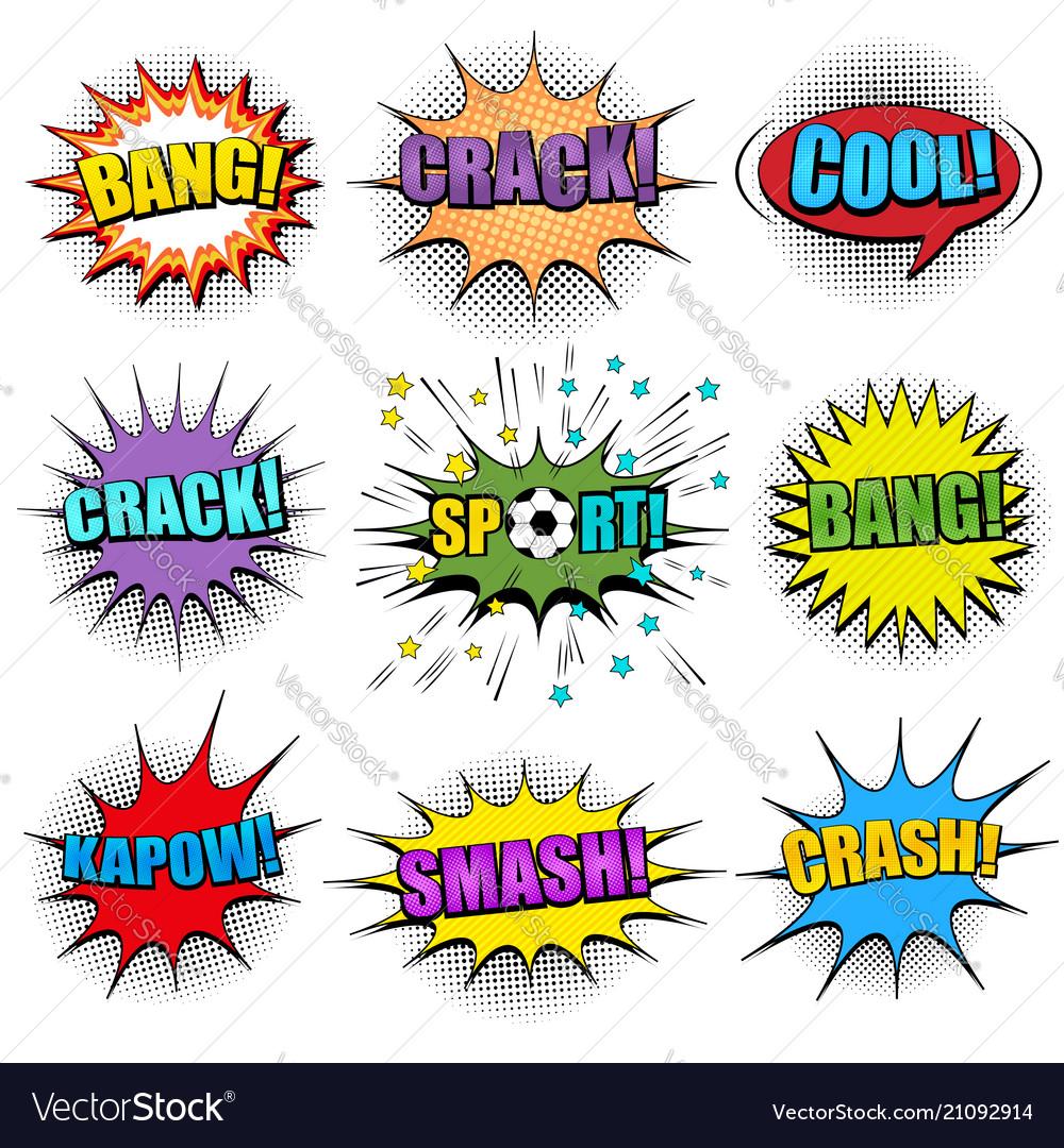 Comic colorful speech bubbles set