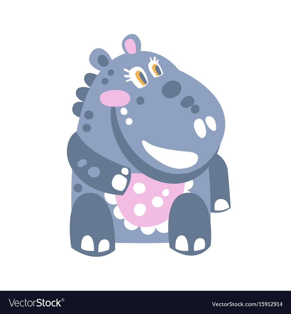 Cute cartoon hippo character sitting on the floor vector image