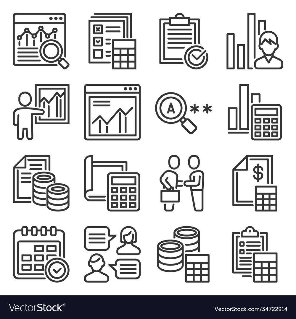 Financial audit and business analytics icons set