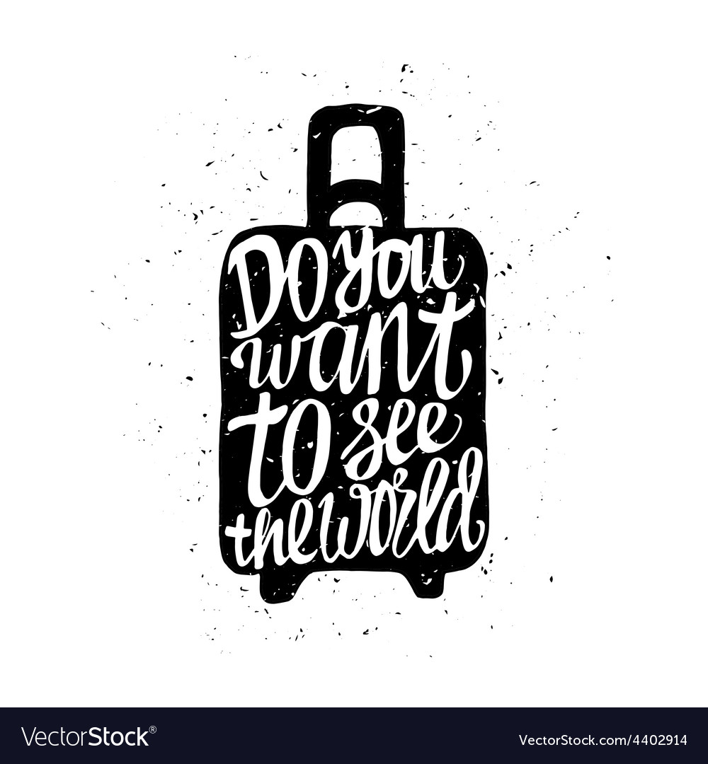 Motivational travel poster with suitcase